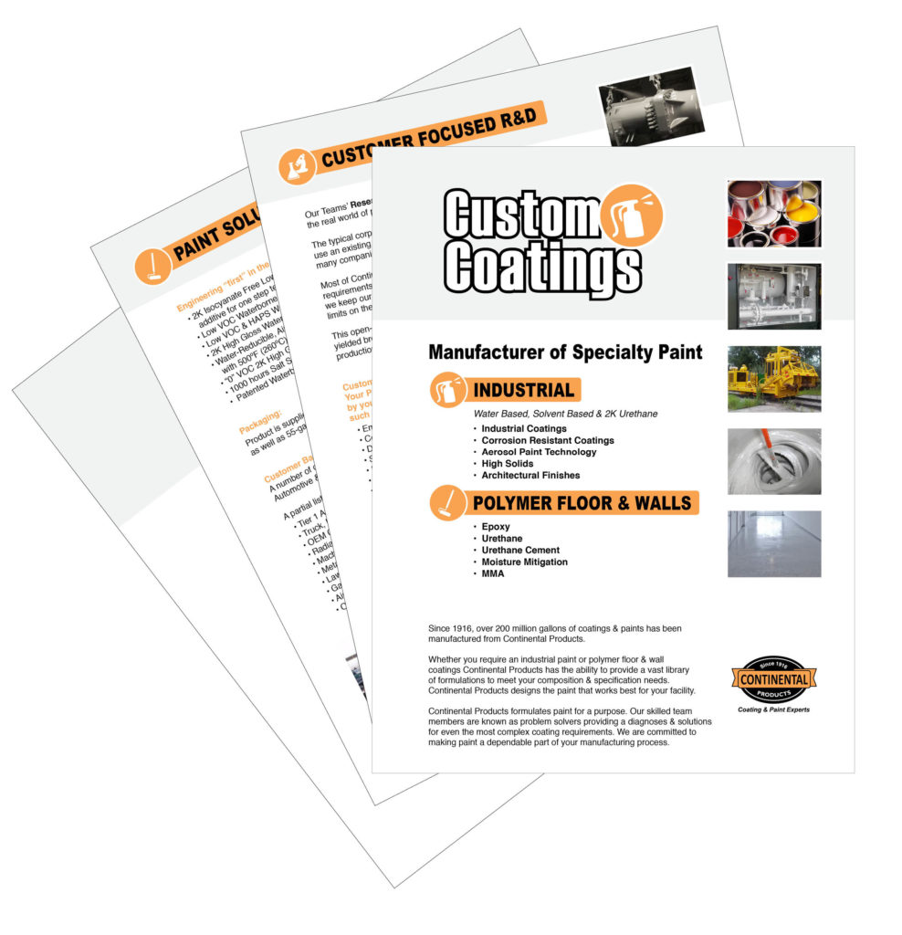 Custom Coatings fanning of brochure